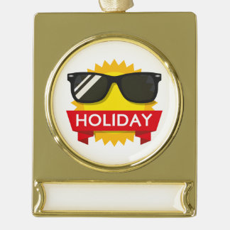 Coole sunglass Sonne Banner-Ornament Gold