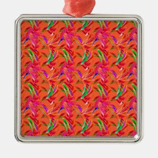 Coole und elegante abstrakte rosa orange Fuchsie Silbernes Ornament