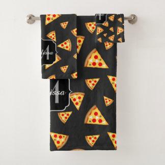 Coole und Spaßpizza schneidet Muster Monogramm Badhandtuch Set