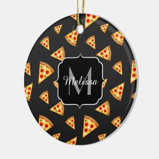 Coole und Spaßpizza schneidet Muster Monogramm Keramik Ornament
