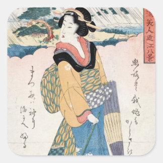 Coole Vintage japanische ukiyo-e Rolle Geishakunst Quadratischer Aufkleber
