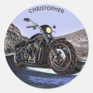 Coole Vintage Straßen-glühender Motorrad-Chopper Runder Aufkleber