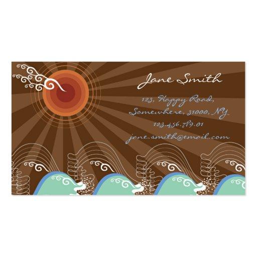 Coole Wellen-tropischer Sommer Sun Brown Stripes Visitenkarten Vorlage