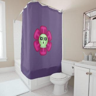 Coole Zombie-Schädel-Blume Duschvorhang
