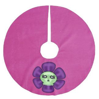 Coole Zombie-Schädel-Blume Polyester Weihnachtsbaumdecke