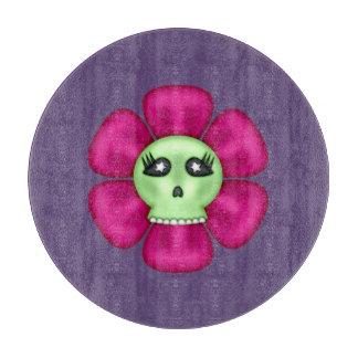 Coole Zombie-Schädel-Blume Schneidebrett