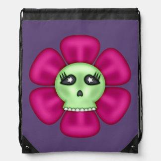 Coole Zombie-Schädel-Blume Sportbeutel