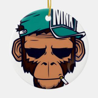 Cooler Affe mit einer Zigarette Rundes Keramik Ornament