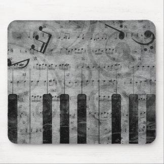 Cooler antiker Grungeeffekt-Klavier-Musiknoten Mauspads