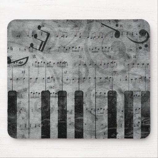 Cooler antiker Grungeeffekt-Klavier-Musiknoten Mauspad