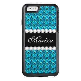 Cooler aquamariner blauer Glitter-schwarze OtterBox iPhone 6/6s Hülle