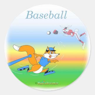 Cooler Baseball scherzt Einzelteile Runder Sticker
