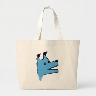Cooler blauer Origami Hund Jumbo Stoffbeutel