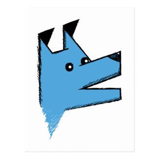 Cooler blauer Origami Hund Postkarten