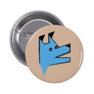 Cooler blauer Origami Hund Runder Button 5,1 Cm