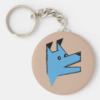 Cooler blauer Origami Hund Standard Runder Schlüsselanhänger