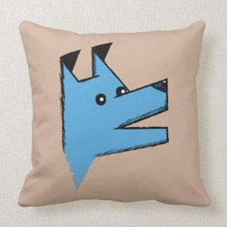 Cooler blauer Origami Hund Zierkissen