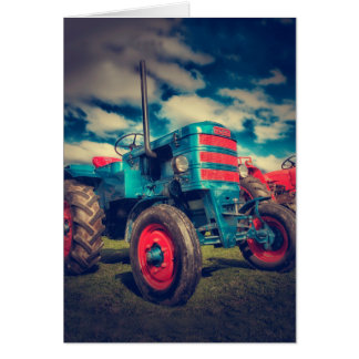Cooler blaues Rot-Vintager Traktor Karte