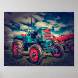 Cooler blaues Rot-Vintager Traktor Poster