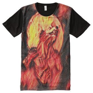 Cooler Blut-Mondwerewolf-dunkle Horror-Kunst T-Shirt Mit Bedruckbarer Vorderseite