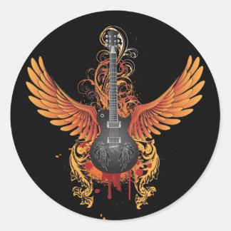 Cooler Fliegen-Gitarren-Aufkleber Runder Aufkleber
