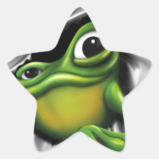 Cooler Frosch 3d Stern-Aufkleber