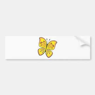 Cooler gelber Schmetterlings-Cartoon Autoaufkleber