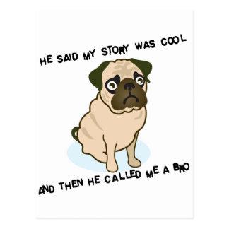 Cooler Geschichten-Mops Postkarte