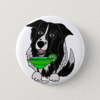 Cooler Grenzcollie-Hund, der Margarita-Cartoon Runder Button 5,1 Cm