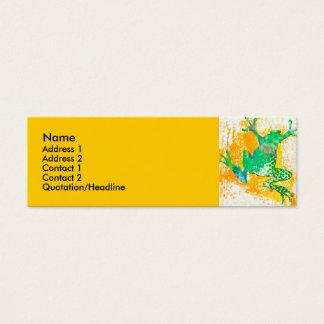 Cooler grüner Frosch-TierWatercolor Mini Visitenkarte