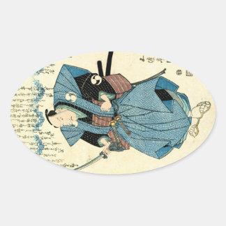 Cooler japanischer Vintager ukiyo-e Samuraikrieger Ovaler Aufkleber