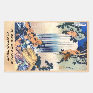 Cooler japanischer Vintager ukiyo-e Wasserfall Rechteckiger Aufkleber