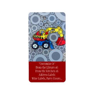 Cooler Kinderbau-LKW-Bagger-Gräber Adressaufkleber