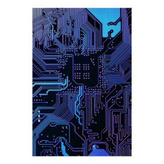 Cooler Leiterplatte-Computer-blaues Lila Poster