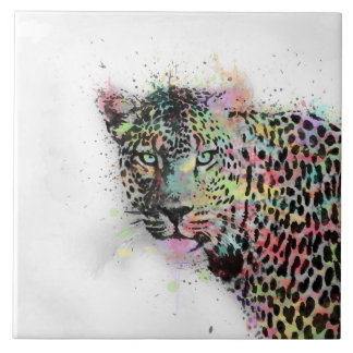 Cooler Leopard Tierwatercolor-Spritzerfarbe Fliese