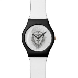 Cooler Löwe (Schwarzweiss) Uhr