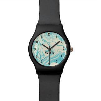 Cooler Marmorentwurf im Türkis-und Creme-Monogramm Uhr