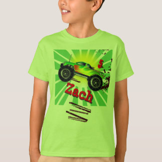 Cooler Monster-LKW mit Name-u. Alters-T-Shirt T-Shirt