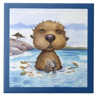 Cooler Otter für heißen Teller Keramikfliese