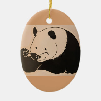 Cooler Panda mit Schatten Keramik Ornament
