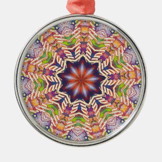 Cooler psychedelischer PastellMandala geformt Rundes Silberfarbenes Ornament