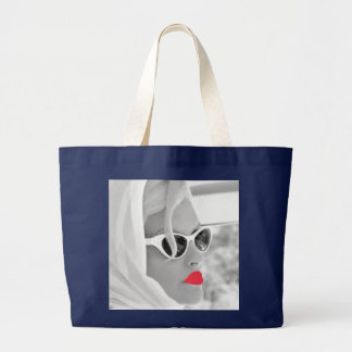 Cooler Retro riesiger Strand Damen-Face Graphic Jumbo Stoffbeutel