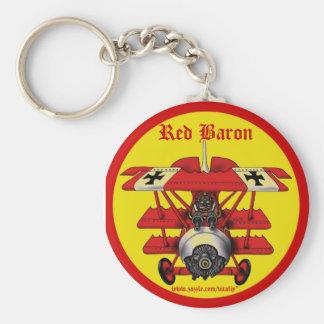 Cooler roter Baron-Flugzeug keychain Entwurf Standard Runder Schlüsselanhänger