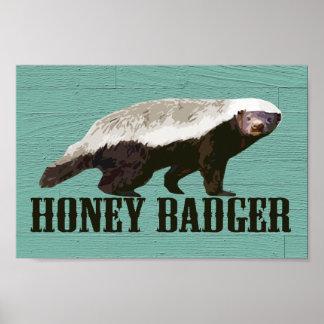 Cooler rustikaler Honig-Dachs Plakate