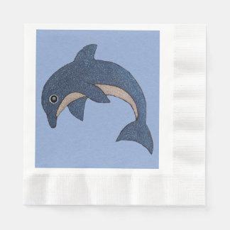 Cooler Schein-Blick-blauer weißer Delphin auf Blau Papierserviette