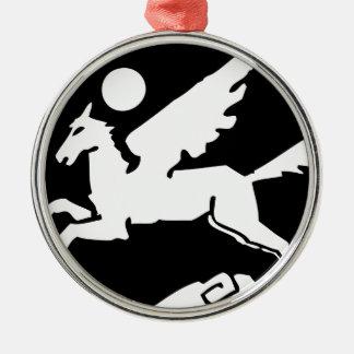 Cooler Schwarzweiss-Pegasus-Cartoon Silbernes Ornament