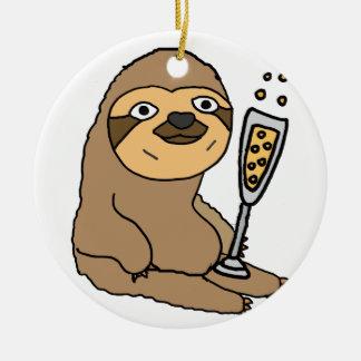 Cooler Sloth, der Champagne-Cartoon trinkt Keramik Ornament