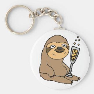 Cooler Sloth, der Champagne-Cartoon trinkt Schlüsselanhänger