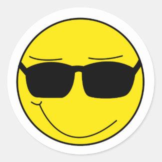 Cooler Smiley Runder Aufkleber