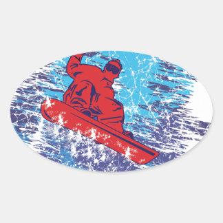 Cooler Snowboarder Ovaler Aufkleber